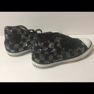 Converse sequin checkered shoes. Size ladies 5